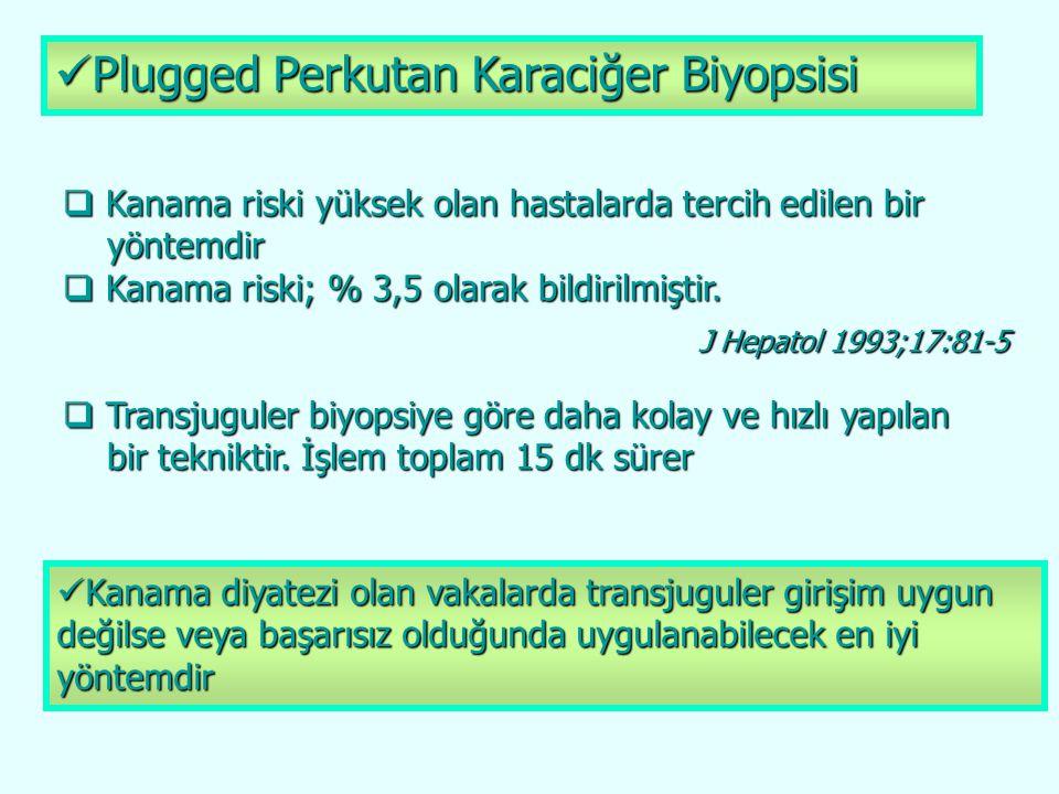 Plugged Perkutan Karaciğer Biyopsisi Plugged Perkutan Karaciğer Biyopsisi  Kanama riski yüksek olan hastalarda tercih edilen bir yöntemdir yöntemdir