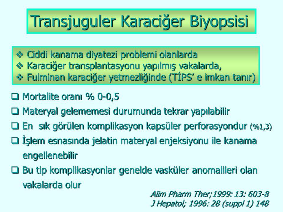 Transjuguler Karaciğer Biyopsisi  Mortalite oranı % 0-0,5  Materyal gelememesi durumunda tekrar yapılabilir  En sık görülen komplikasyon kapsüler p