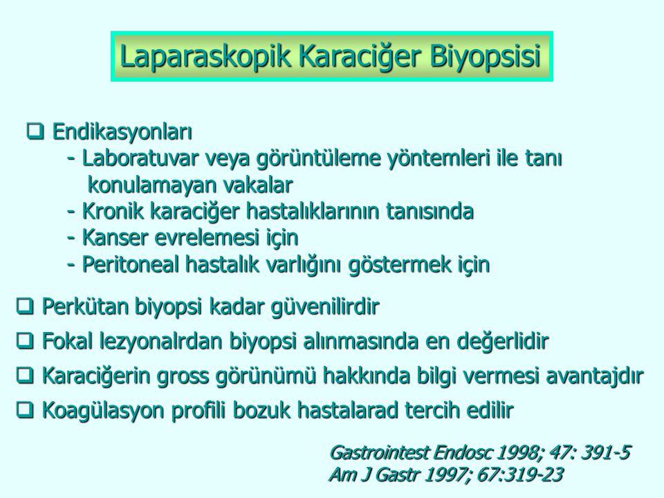 Laparaskopik Karaciğer Biyopsisi  Endikasyonları - Laboratuvar veya görüntüleme yöntemleri ile tanı - Laboratuvar veya görüntüleme yöntemleri ile tan