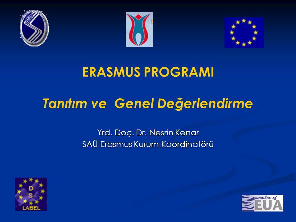 ERASMUS PROGRAMI Tanıtım ve Genel Değerlendirme Yrd. Doç. Dr. Nesrin Kenar SAÜ Erasmus Kurum Koordinatörü