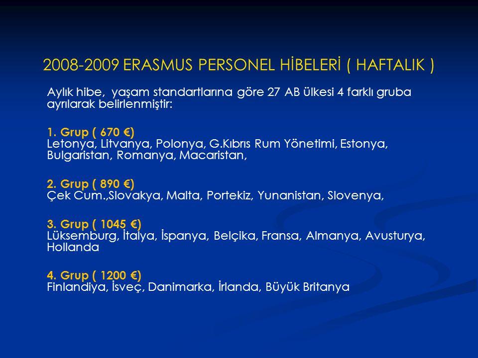 2008-2009 ERASMUS PERSONEL HİBELERİ ( HAFTALIK ) Aylık hibe, yaşam standartlarına göre 27 AB ülkesi 4 farklı gruba ayrılarak belirlenmiştir: 1. Grup (