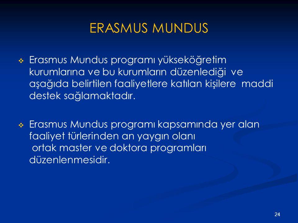 ERASMUS MUNDUS   Erasmus Mundus programı yükseköğretim kurumlarına ve bu kurumların düzenlediği ve aşağıda belirtilen faaliyetlere katılan kişilere maddi destek sağlamaktadır.