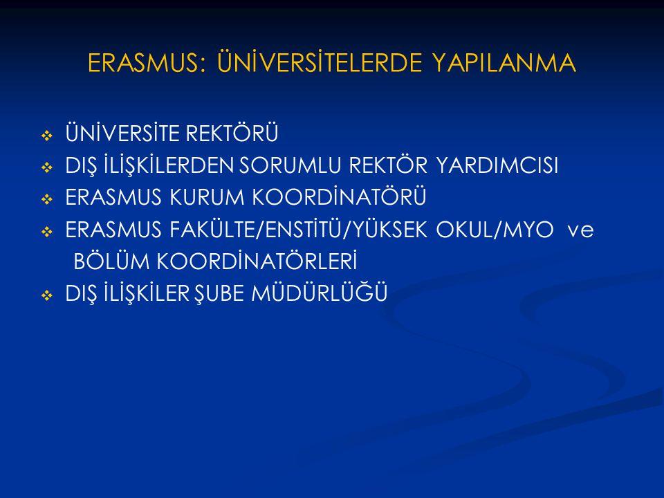 ERASMUS: ÜNİVERSİTELERDE YAPILANMA   ÜNİVERSİTE REKTÖRÜ   DIŞ İLİŞKİLERDEN SORUMLU REKTÖR YARDIMCISI   ERASMUS KURUM KOORDİNATÖRÜ   ERASMUS FA