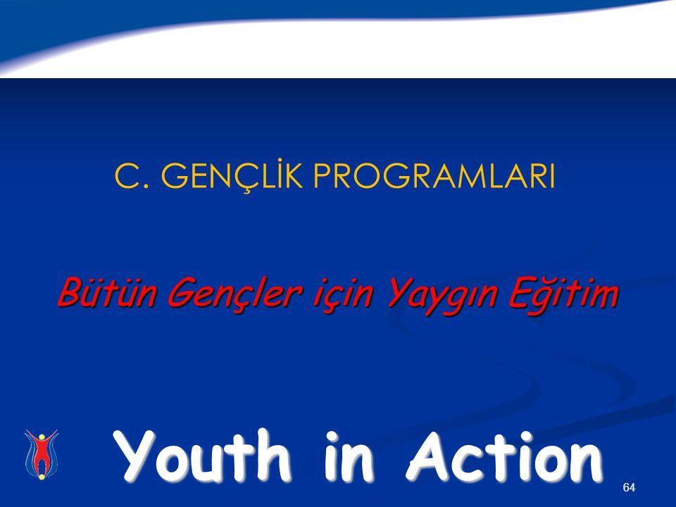 64 Bütün Gençler için Yaygın Eğitim C. GENÇLİK PROGRAMLARI Bütün Gençler için Yaygın Eğitim Youth in Action