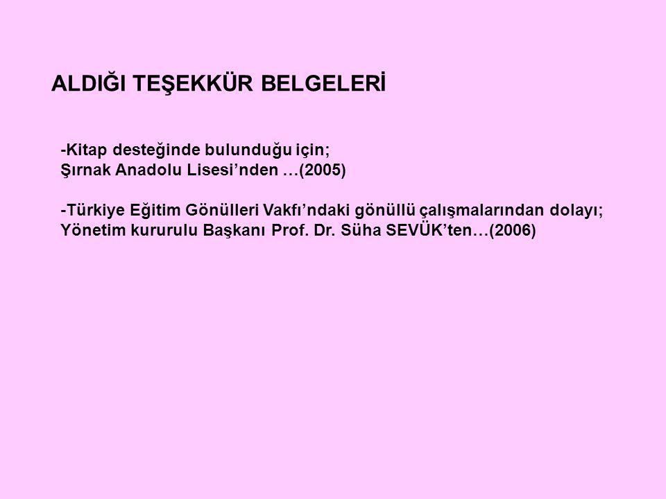 ALDIĞI TEŞEKKÜR BELGELERİ -Kitap desteğinde bulunduğu için; Şırnak Anadolu Lisesi'nden …(2005) -Türkiye Eğitim Gönülleri Vakfı'ndaki gönüllü çalışmala