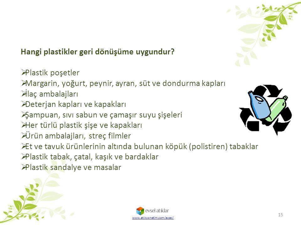 Hangi plastikler geri dönüşüme uygundur?  Plastik poşetler  Margarin, yoğurt, peynir, ayran, süt ve dondurma kapları  İlaç ambalajları  Deterjan k