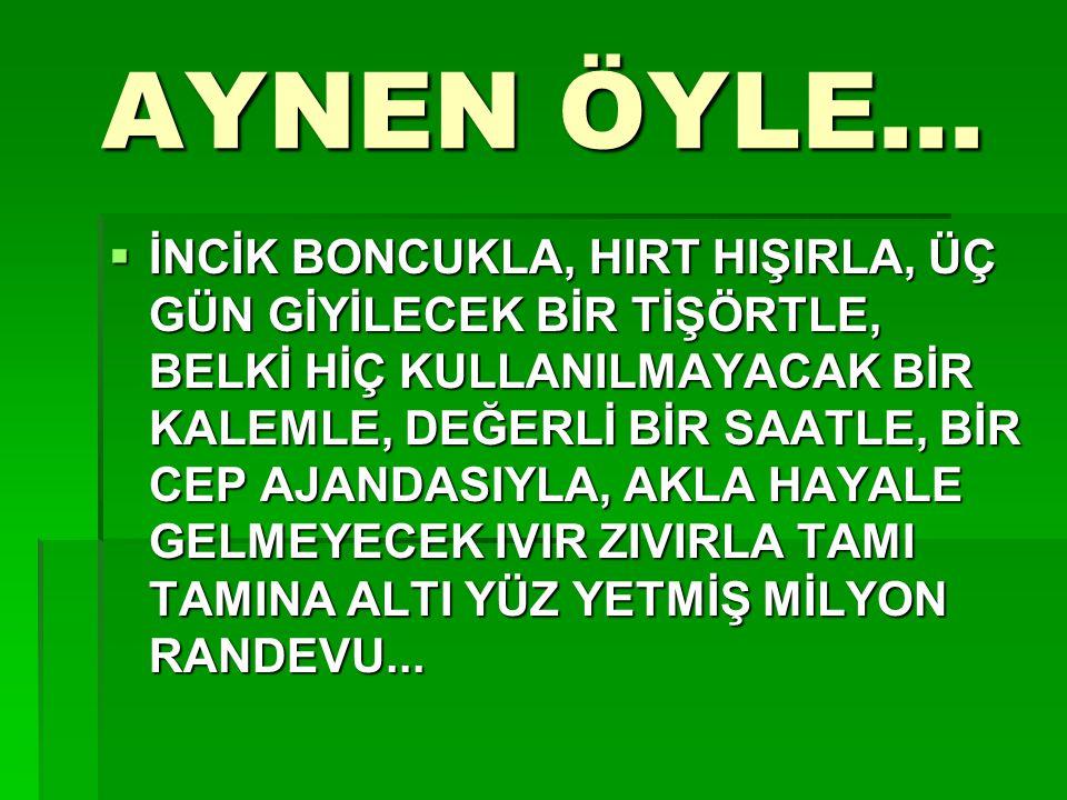 AYNEN ÖYLE...