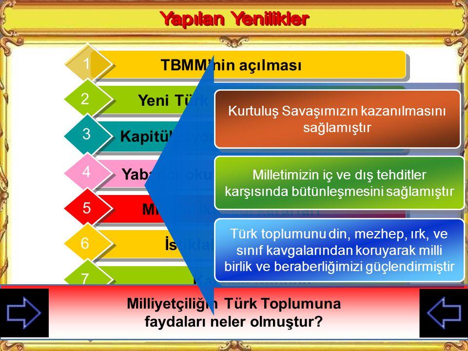 TBMM'nin açılması 1 Yeni Türk Devletinin kurulması 2 Kapitülasyonların kaldırılması 3 Yabancı okulların kapatılması 4 Misak-i İktisadi kararları 5 İstiklal Marşının Kabulü 6 Kabotaj Kanunu 7 Türk Tarih ve Dil Kurumları 8 Milliyetçiliğin Türk Toplumuna faydaları neler olmuştur.