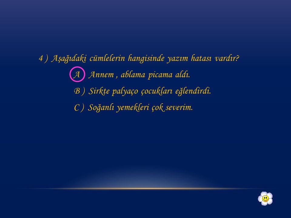 3 ) Aşağıdaki görsellerden hangisinin yazımı yanlıştır? A) B ) C ) palyaçodinozor sanduviç