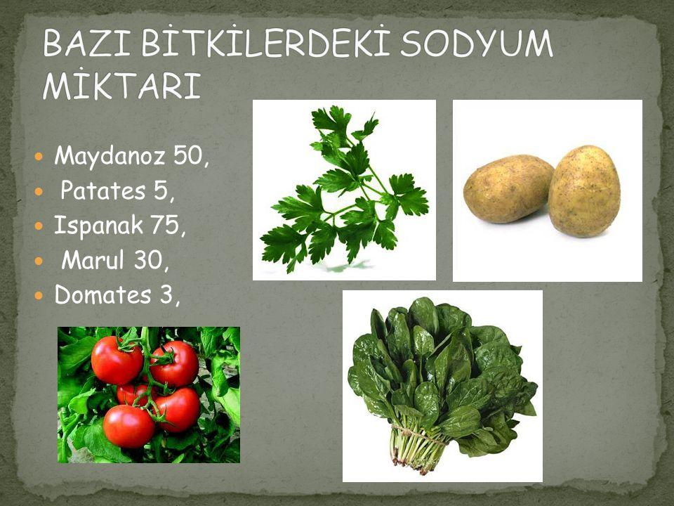 Maydanoz 50, Patates 5, Ispanak 75, Marul 30, Domates 3,