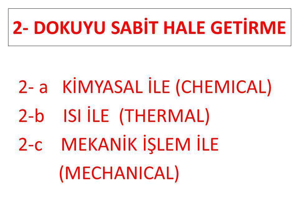 2- DOKUYU SABİT HALE GETİRME 2- a KİMYASAL İLE (CHEMICAL) 2-b ISI İLE (THERMAL) 2-c MEKANİK İŞLEM İLE (MECHANICAL)