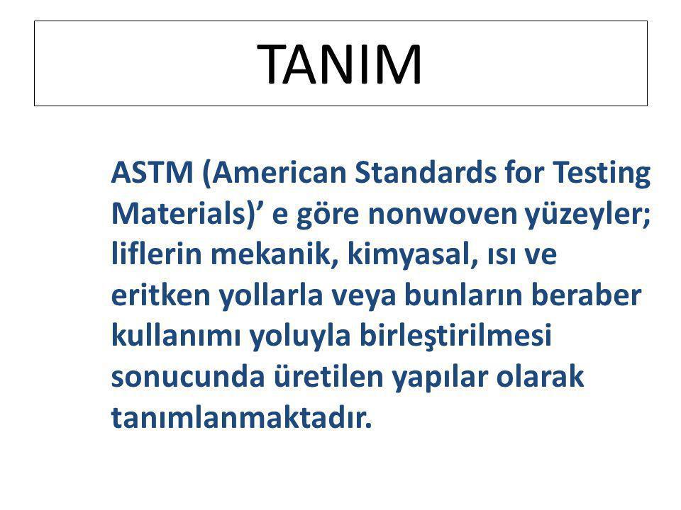 TANIM ASTM (American Standards for Testing Materials)' e göre nonwoven yüzeyler; liflerin mekanik, kimyasal, ısı ve eritken yollarla veya bunların ber