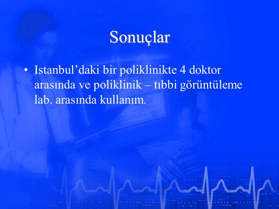 Sonuçlar Istanbul'daki bir poliklinikte 4 doktor arasında ve poliklinik – tıbbi görüntüleme lab. arasında kullanım.