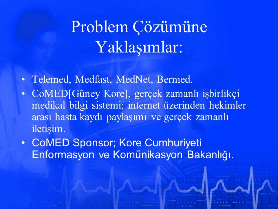Problem Çözümüne Yaklaşımlar: Telemed, Medfast, MedNet, Bermed. CoMED[Güney Kore], gerçek zamanlı işbirlikçi medikal bilgi sistemi; internet üzerinden