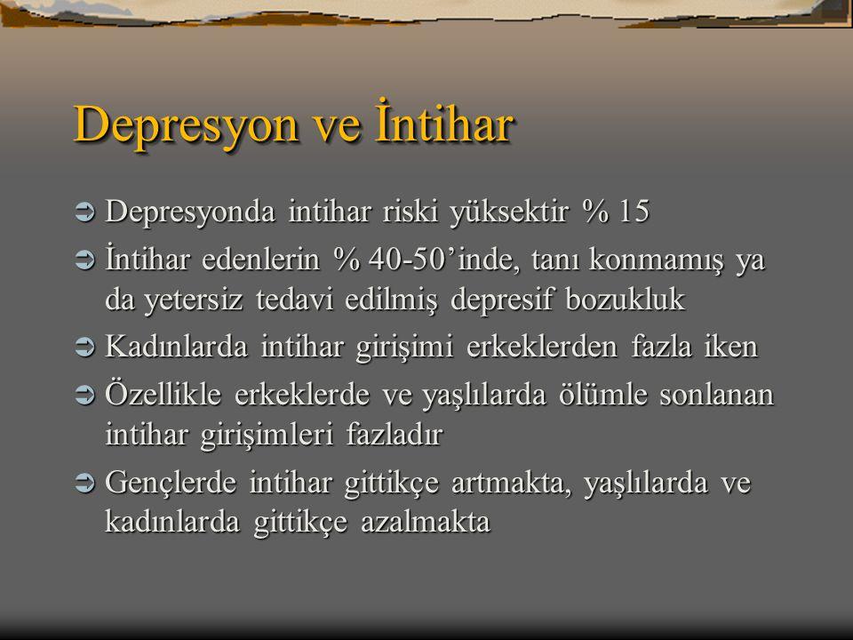 Depresyon ve İntihar  Depresyonda intihar riski yüksektir % 15  İntihar edenlerin % 40-50'inde, tanı konmamış ya da yetersiz tedavi edilmiş depresif
