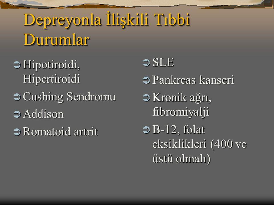Depreyonla İlişkili Tıbbi Durumlar  Hipotiroidi, Hipertiroidi  Cushing Sendromu  Addison  Romatoid artrit  SLE  Pankreas kanseri  Kronik ağrı,