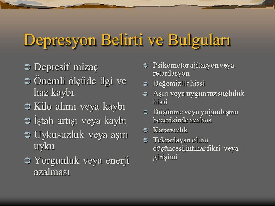 Depresyon Belirti ve Bulguları  Depresif mizaç  Önemli ölçüde ilgi ve haz kaybı  Kilo alımı veya kaybı  İştah artışı veya kaybı  Uykusuzluk veya