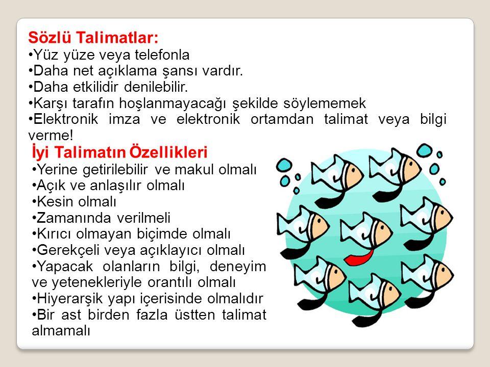 Sözlü Talimatlar: Yüz yüze veya telefonla Daha net açıklama şansı vardır.