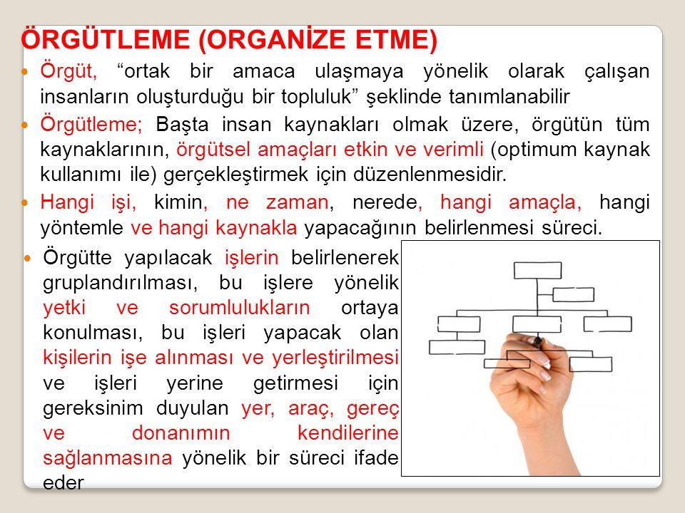 ÖRGÜTLEME (ORGANİZE ETME) Örgüt, ortak bir amaca ulaşmaya yönelik olarak çalışan insanların oluşturduğu bir topluluk şeklinde tanımlanabilir Örgütleme; Başta insan kaynakları olmak üzere, örgütün tüm kaynaklarının, örgütsel amaçları etkin ve verimli (optimum kaynak kullanımı ile) gerçekleştirmek için düzenlenmesidir.