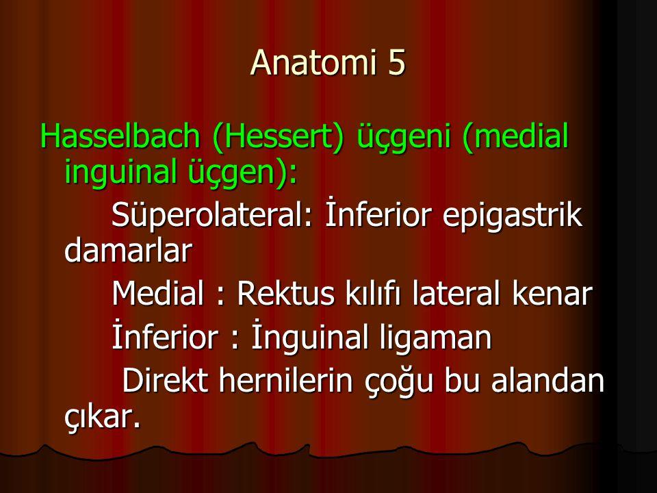 Anatomi 5 Hasselbach (Hessert) üçgeni (medial inguinal üçgen): Süperolateral: İnferior epigastrik damarlar Süperolateral: İnferior epigastrik damarlar Medial : Rektus kılıfı lateral kenar Medial : Rektus kılıfı lateral kenar İnferior : İnguinal ligaman İnferior : İnguinal ligaman Direkt hernilerin çoğu bu alandan çıkar.