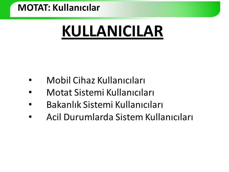 KULLANICILAR Mobil Cihaz Kullanıcıları Motat Sistemi Kullanıcıları Bakanlık Sistemi Kullanıcıları Acil Durumlarda Sistem Kullanıcıları MOTAT: Kullanıc