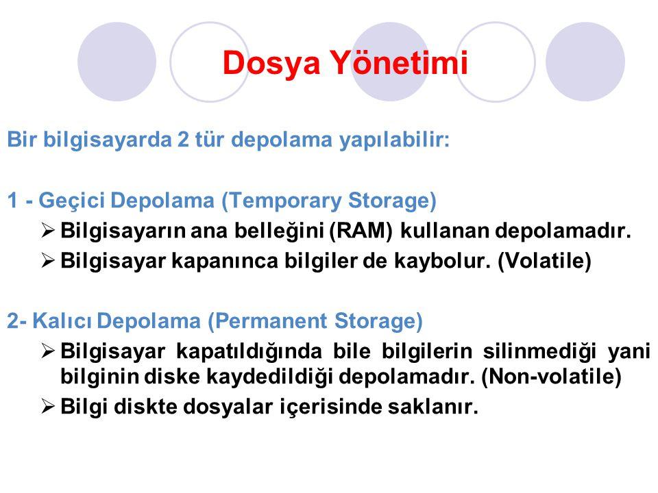 Dosya Yönetimi Bir bilgisayarda 2 tür depolama yapılabilir: 1 - Geçici Depolama (Temporary Storage)  Bilgisayarın ana belleğini (RAM) kullanan depola