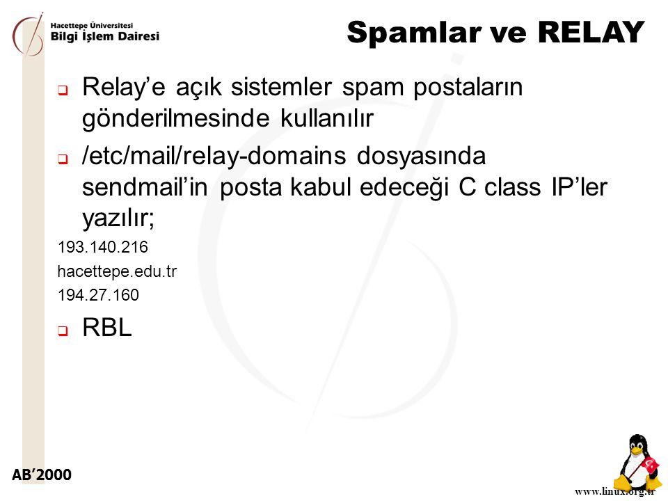 AB'2000 www.linux.org.tr Spamlar ve RELAY  Relay'e açık sistemler spam postaların gönderilmesinde kullanılır  /etc/mail/relay-domains dosyasında sendmail'in posta kabul edeceği C class IP'ler yazılır; 193.140.216 hacettepe.edu.tr 194.27.160  RBL