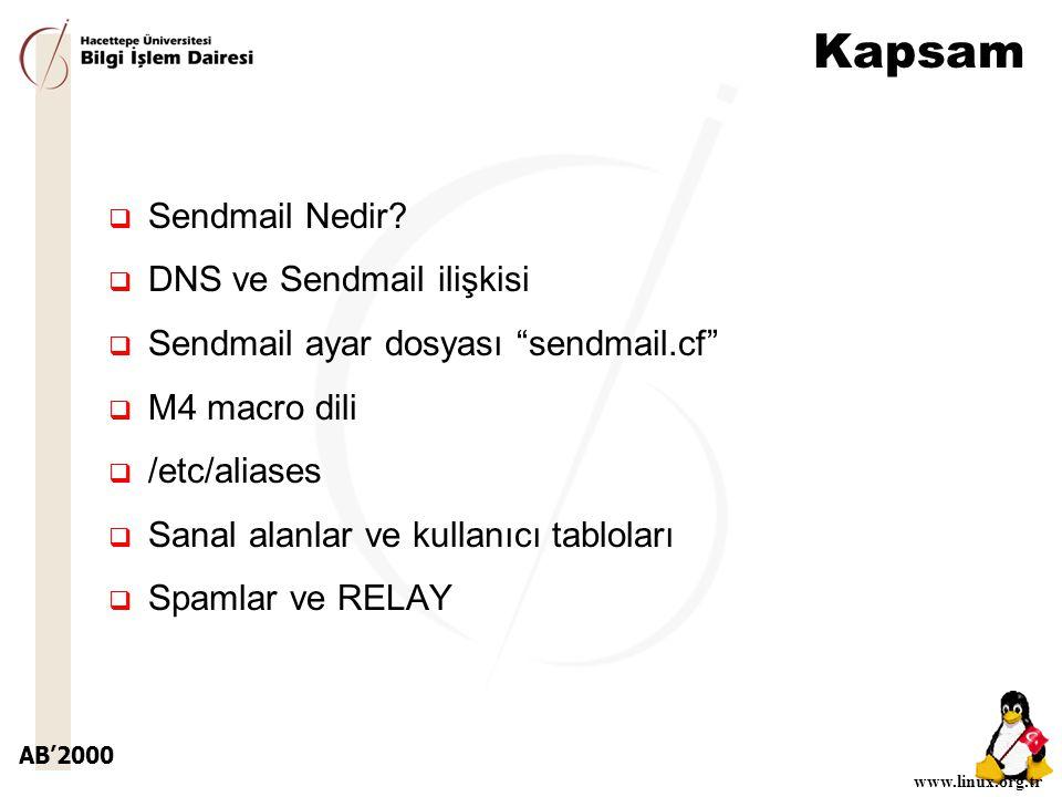 AB'2000 www.linux.org.tr Kapsam  Sendmail Nedir.