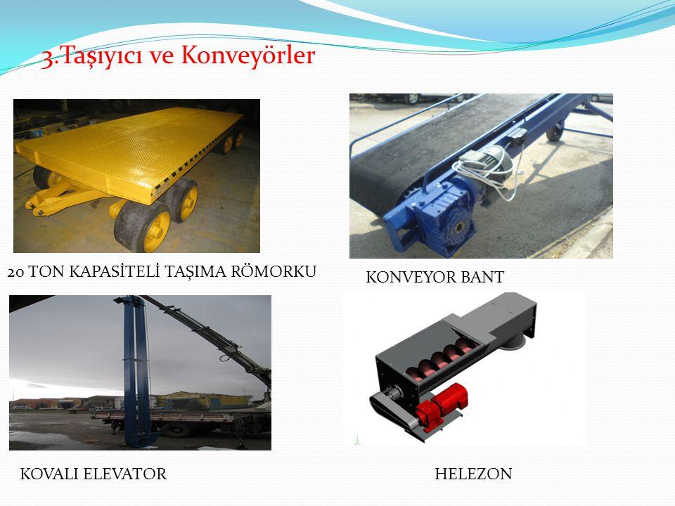 20 TON KAPASİTELİ TAŞIMA RÖMORKU 3.Taşıyıcı ve Konveyörler KONVEYOR BANT KOVALI ELEVATORHELEZON