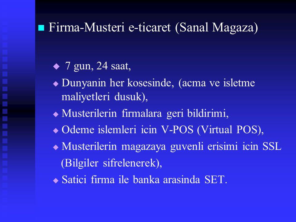 Firma-Musteri e-ticaret (Sanal Magaza)   7 gun, 24 saat,   Dunyanin her kosesinde, (acma ve isletme maliyetleri dusuk),   Musterilerin firmalara