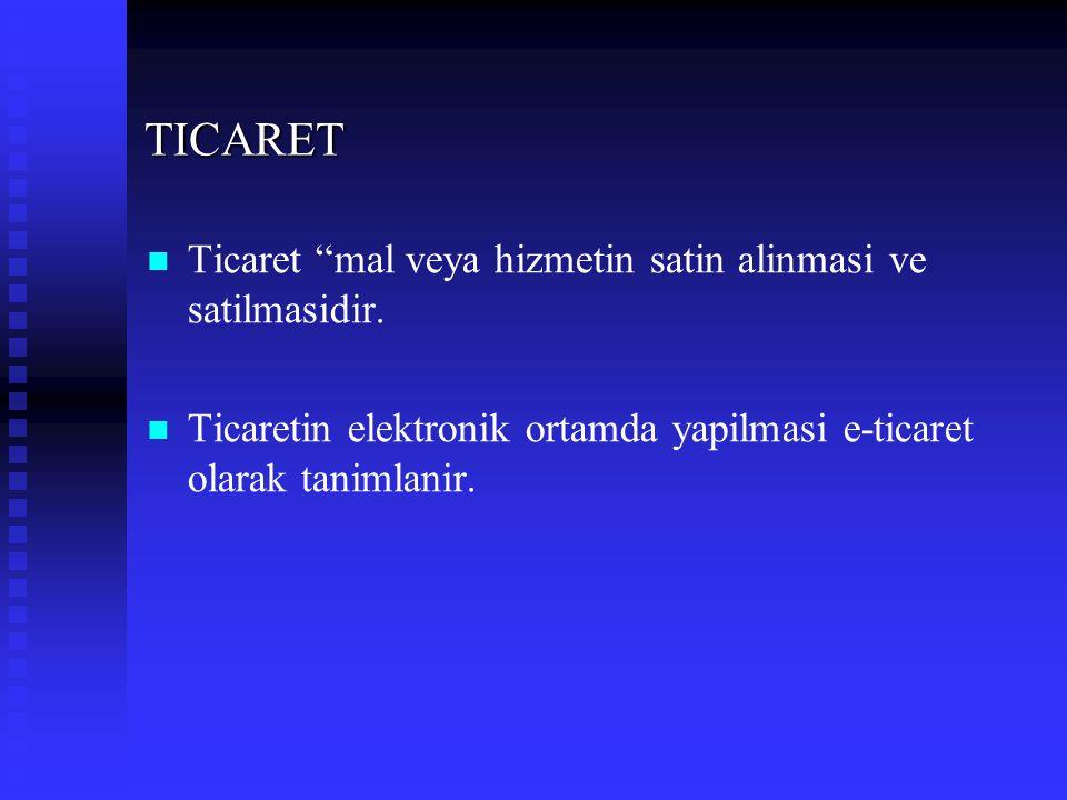 """TICARET Ticaret """"mal veya hizmetin satin alinmasi ve satilmasidir. Ticaretin elektronik ortamda yapilmasi e-ticaret olarak tanimlanir."""