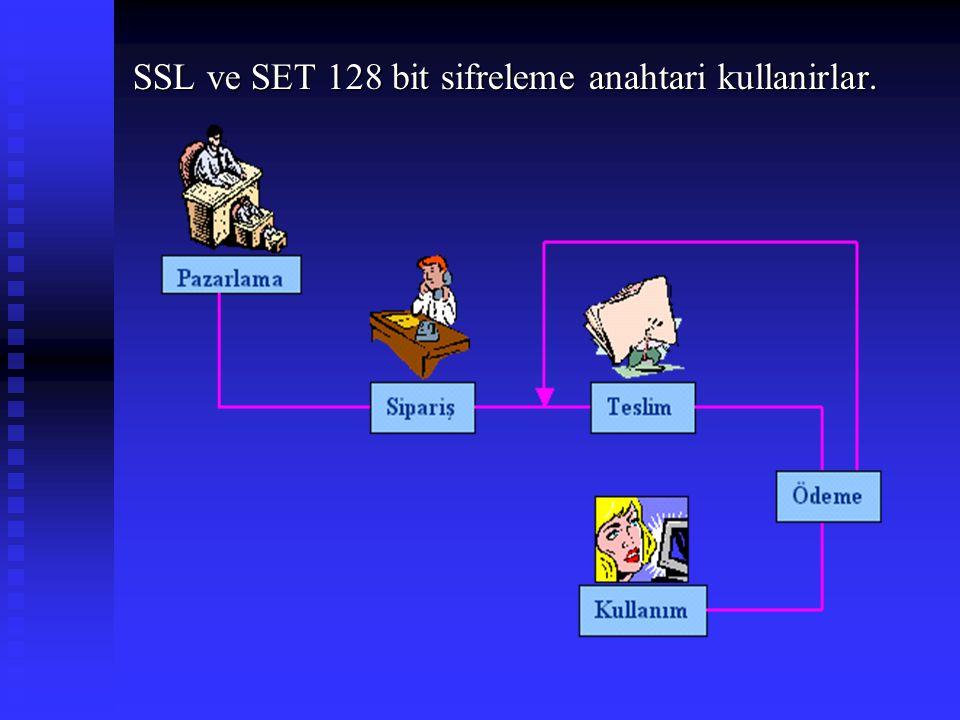SSL ve SET 128 bit sifreleme anahtari kullanirlar.