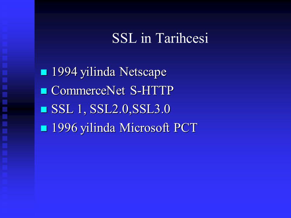 SSL in Tarihcesi 1994 yilinda Netscape 1994 yilinda Netscape CommerceNet S-HTTP CommerceNet S-HTTP SSL 1, SSL2.0,SSL3.0 SSL 1, SSL2.0,SSL3.0 1996 yili