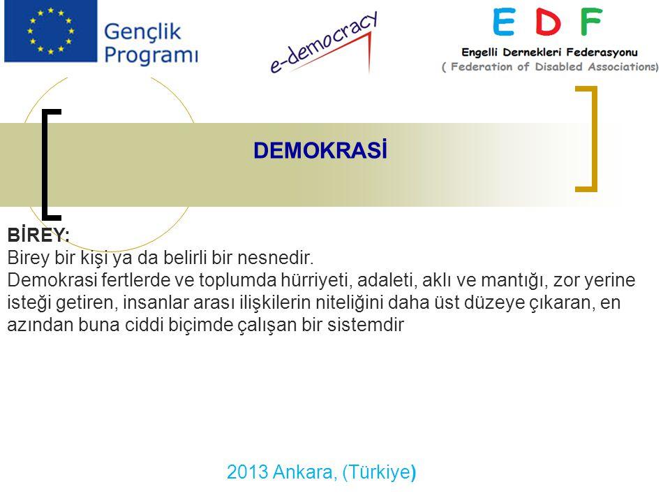 2013 Ankara, (Türkiye) DEMOKRASİ BİREY: Birey bir kişi ya da belirli bir nesnedir.
