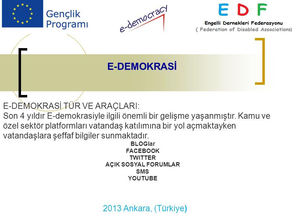 2013 Ankara, (Türkiye) E-DEMOKRASİ E-DEMOKRASİ TÜR VE ARAÇLARI: Son 4 yıldır E-demokrasiyle ilgili önemli bir gelişme yaşanmıştır.