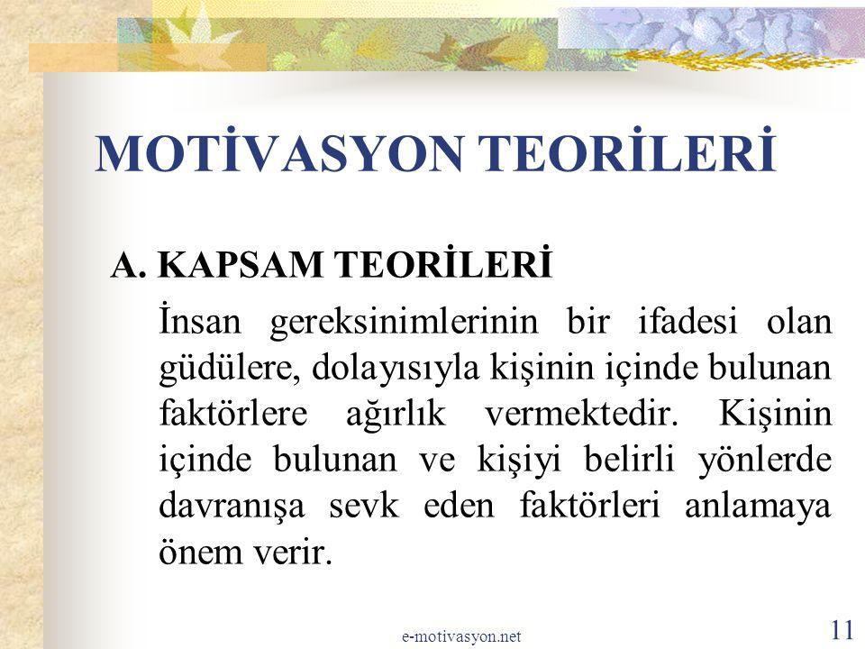 MOTİVASYON TEORİLERİ A.