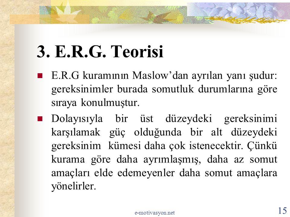 3. E.R.G. Teorisi E.R.G kuramının Maslow'dan ayrılan yanı şudur: gereksinimler burada somutluk durumlarına göre sıraya konulmuştur. Dolayısıyla bir üs
