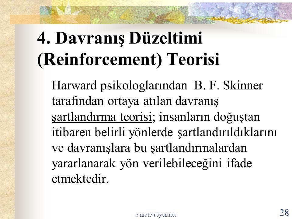 4. Davranış Düzeltimi (Reinforcement) Teorisi Harward psikologlarından B. F. Skinner tarafından ortaya atılan davranış şartlandırma teorisi; insanları