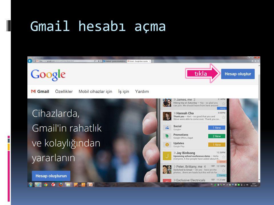Gmail hesabı açma tıkla