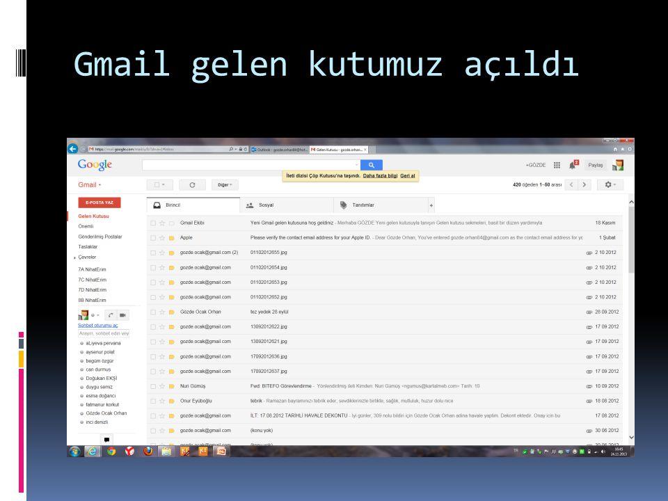 Gmail gelen kutumuz açıldı