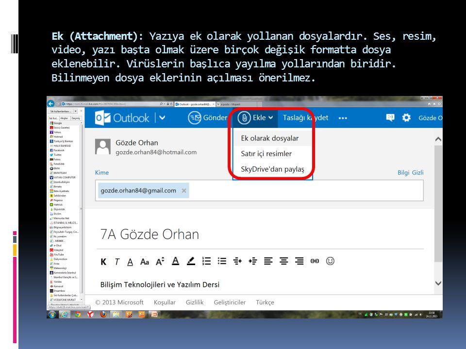 Ek (Attachment): Yazıya ek olarak yollanan dosyalardır.