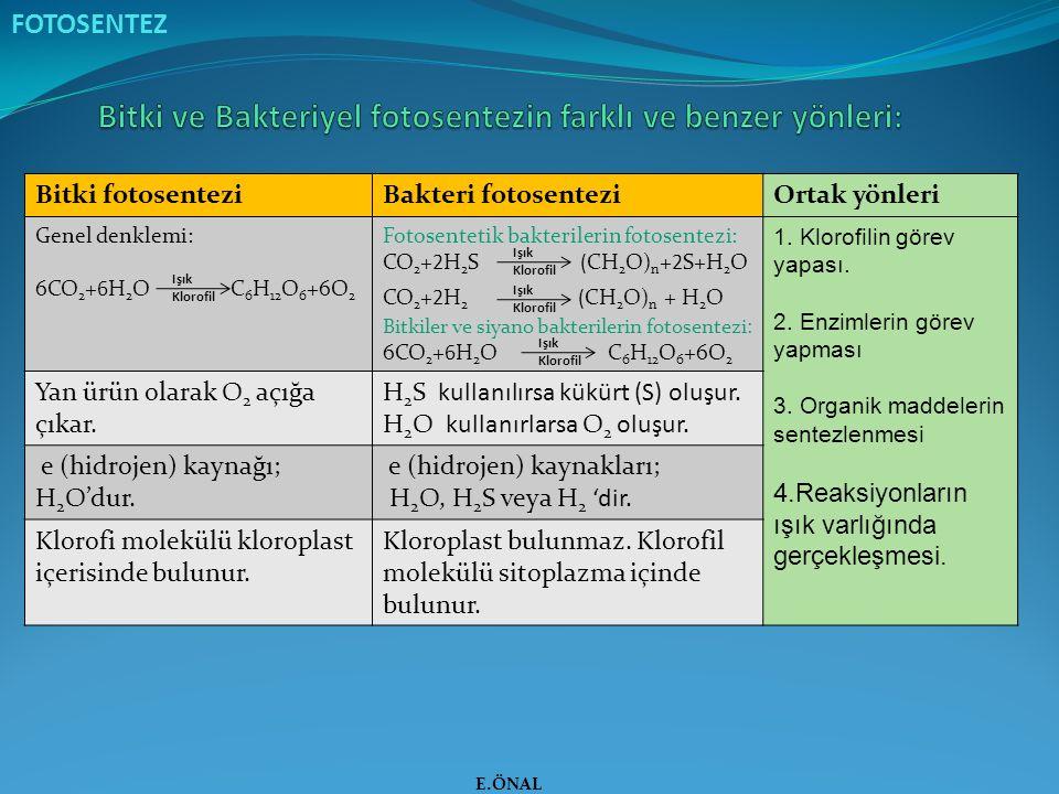 FOTOSENTEZ Bitki fotosenteziBakteri fotosenteziOrtak yönleri Genel denklemi: 6CO 2 +6H 2 O C 6 H 12 O 6 +6O 2 Fotosentetik bakterilerin fotosentezi: C