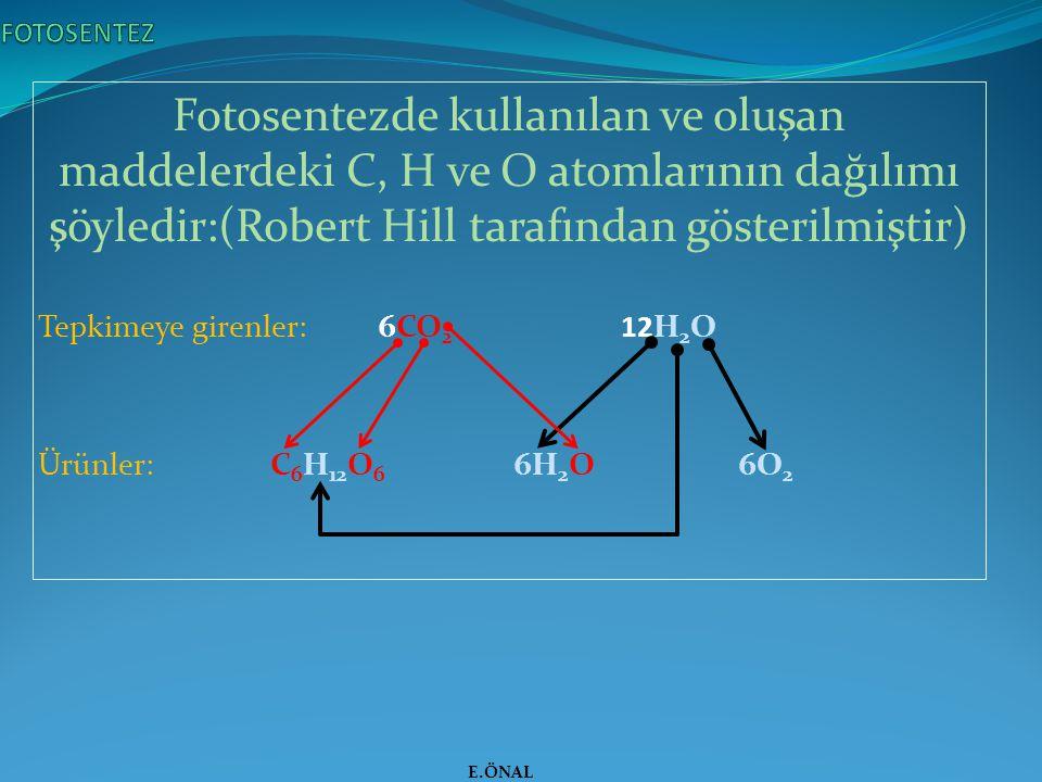Fotosentezde kullanılan ve oluşan maddelerdeki C, H ve O atomlarının dağılımı şöyledir:(Robert Hill tarafından gösterilmiştir) Tepkimeye girenler: 6CO