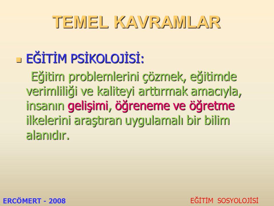 EĞİTİM PSİKOLOJİSİNİN KONULARI 1.Gelişim 2. Öğrenme 3.