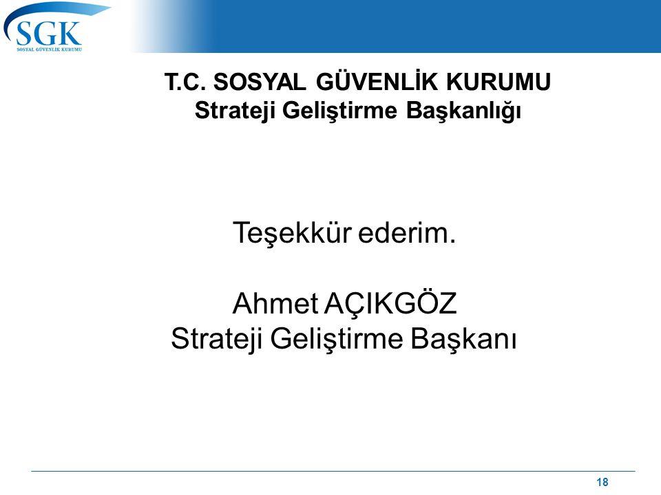 SOSYAL GÜVENLİK KURUMU Strateji Geliştirme Başkanlığı Teşekkür ederim. Ahmet AÇIKGÖZ Strateji Geliştirme Başkanı T.C. SOSYAL GÜVENLİK KURUMU Strateji