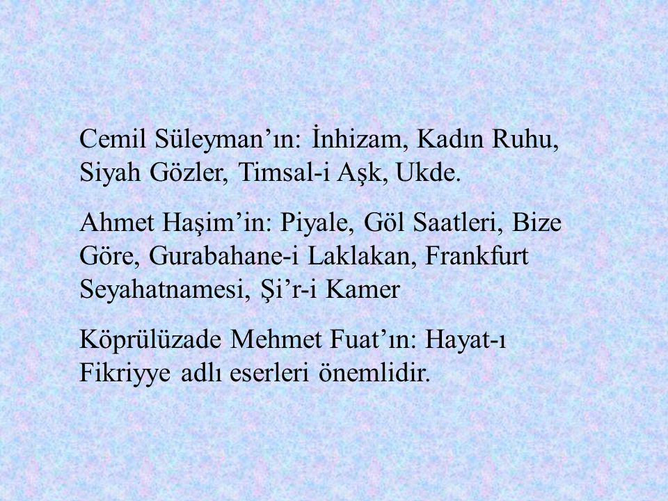 İzzet Melih'in: Leyla(tiyatro eseri), Sermet, Tezat, Hüsün ve Tebessüm, Her Güzele Aşık. Mehmet Behçet'in: Erganun, Yumak(şiir kitabı), Genç Şairlerim