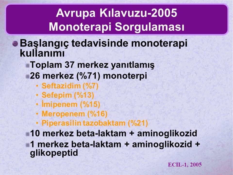 Avrupa Kılavuzu-2005 Monoterapi Sorgulaması Başlangıç tedavisinde monoterapi kullanımı Toplam 37 merkez yanıtlamış 26 merkez (%71) monoterpi Seftazidi