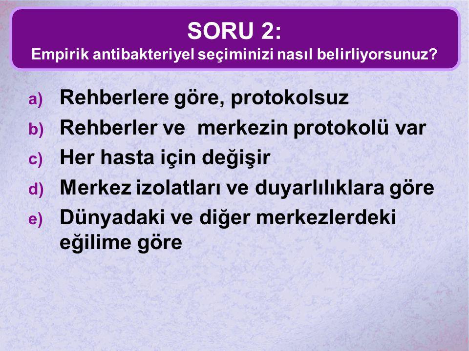 SORU 2: Empirik antibakteriyel seçiminizi nasıl belirliyorsunuz? a) Rehberlere göre, protokolsuz b) Rehberler ve merkezin protokolü var c) Her hasta i