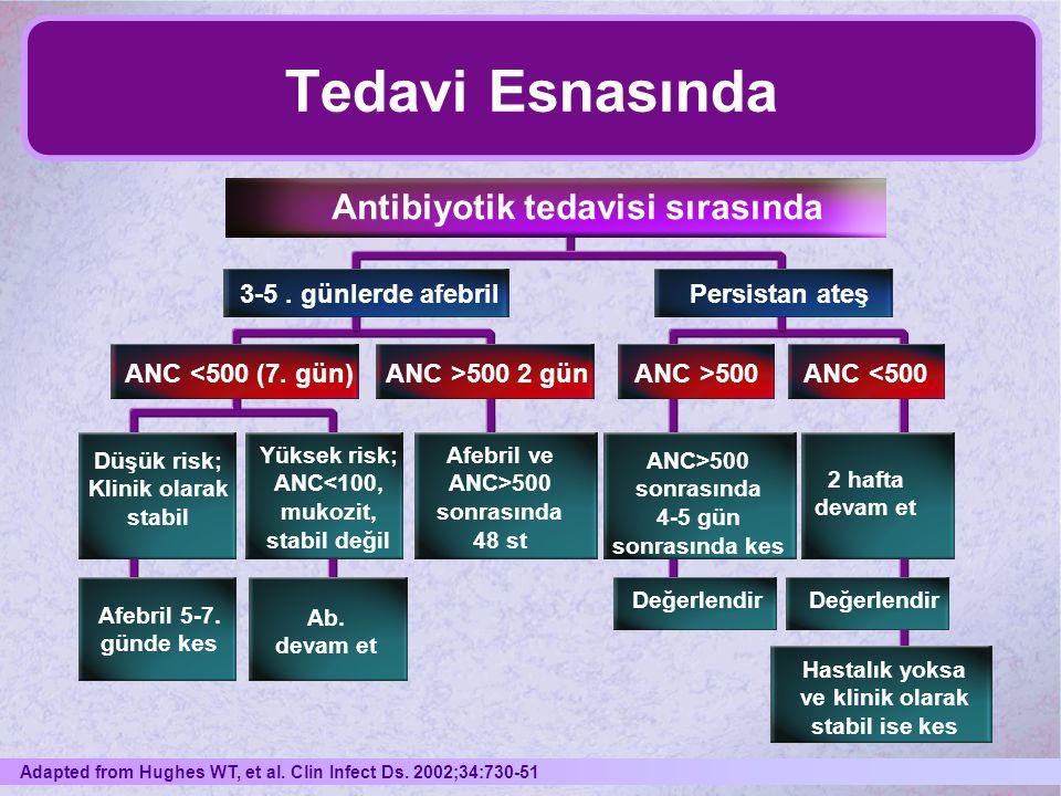 Tedavi Esnasında Antibiyotik tedavisi sırasında 3-5. günlerde afebrilPersistan ateş ANC <500 (7. gün)ANC >500 2 günANC >500ANC <500 Düşük risk; Klinik