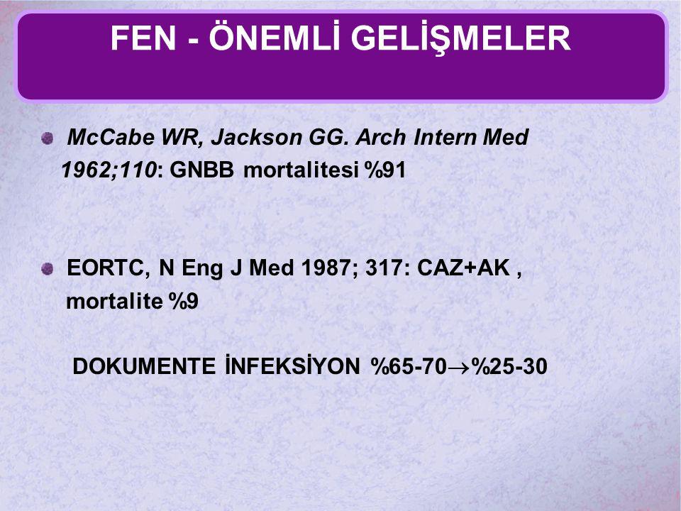 FEN - ÖNEMLİ GELİŞMELER McCabe WR, Jackson GG. Arch Intern Med 1962;110: GNBB mortalitesi %91 EORTC, N Eng J Med 1987; 317: CAZ+AK, mortalite %9 DOKUM